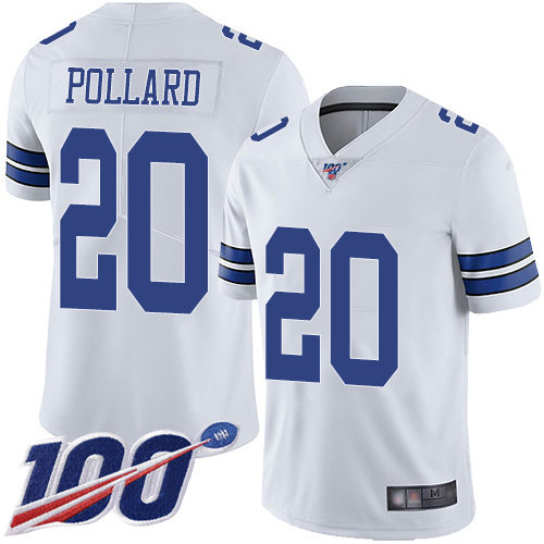 Nike Cowboys #20 Tony Pollard White Youth Stitched NFL 100th Season Vapor Limited Jersey