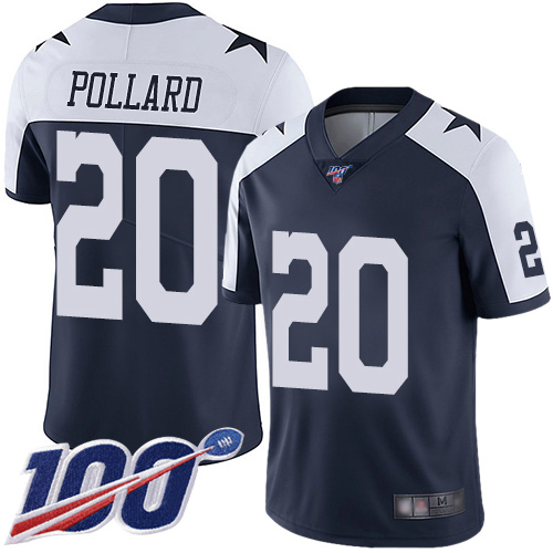 Nike Cowboys #20 Tony Pollard Navy Blue Thanksgiving Youth Stitched NFL 100th Season Vapor Throwback Limited Jersey