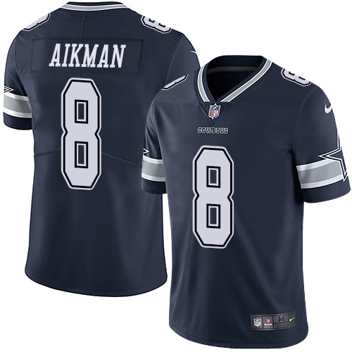 Nike Cowboys #8 Troy Aikman Navy Blue Team Color Youth Stitched NFL Vapor Untouchable Limited Jersey