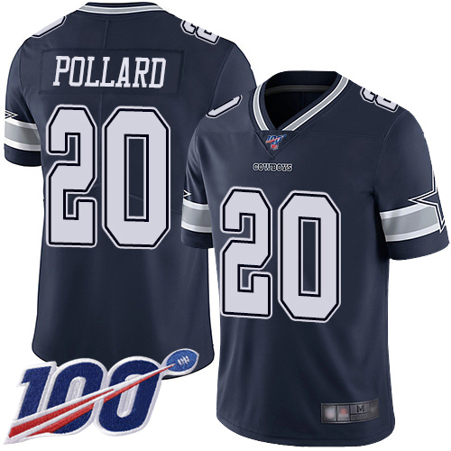 Nike Cowboys #20 Tony Pollard Navy Blue Team Color Youth Stitched NFL 100th Season Vapor Limited Jersey