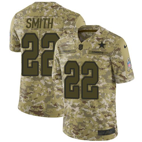 Nike Cowboys #22 Emmitt Smith Camo Youth Stitched NFL Limited 2018 Salute to Service Jersey