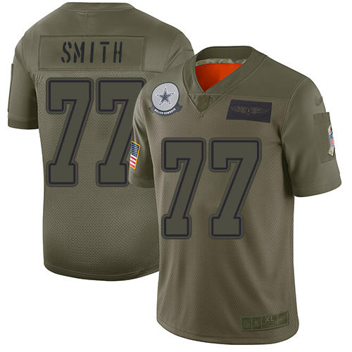 Nike Cowboys #77 Tyron Smith Camo Youth Stitched NFL Limited 2019 Salute to Service Jersey
