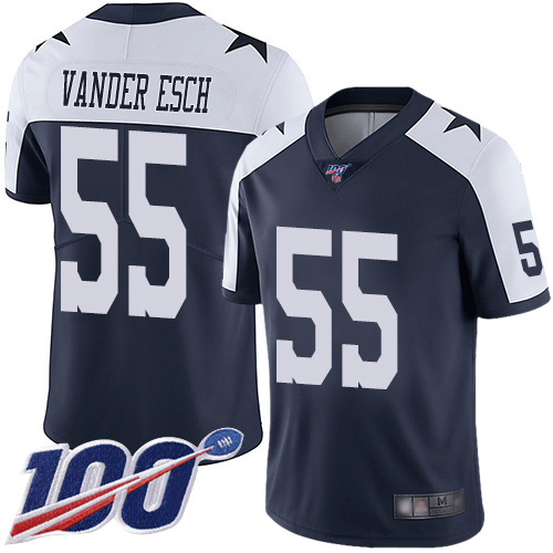 Nike Cowboys #55 Leighton Vander Esch Navy Blue Thanksgiving Youth Stitched NFL 100th Season Vapor Throwback Limited Jersey