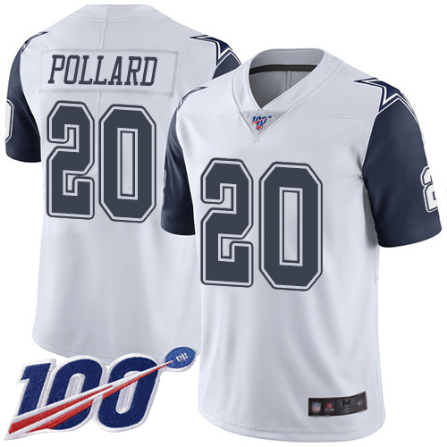 Nike Cowboys #20 Tony Pollard White Youth Stitched NFL Limited Rush 100th Season Jersey