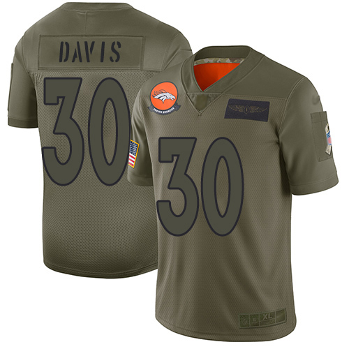 Nike Broncos #30 Terrell Davis Camo Youth Stitched NFL Limited 2019 Salute to Service Jersey