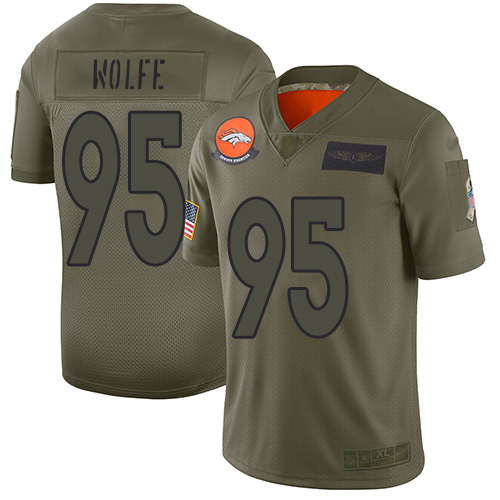Nike Broncos #95 Derek Wolfe Camo Youth Stitched NFL Limited 2019 Salute to Service Jersey