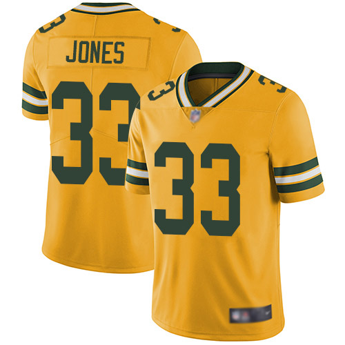 Nike Packers #33 Aaron Jones Yellow Youth Stitched NFL Limited Rush Jersey