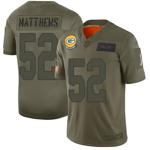 Nike Packers #52 Clay Matthews Camo Youth Stitched NFL Limited 2019 Salute to Service Jersey