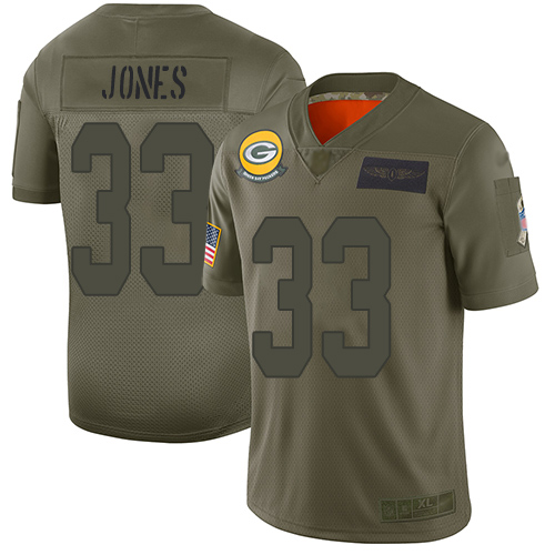 Nike Packers #33 Aaron Jones Camo Youth Stitched NFL Limited 2019 Salute to Service Jersey