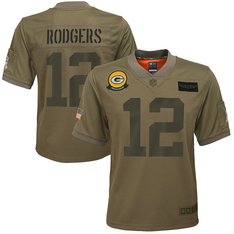 Youth Green Bay Packers #12 Aaron Rodgers Nike Camo 2019 Salute to Service Game Jersey