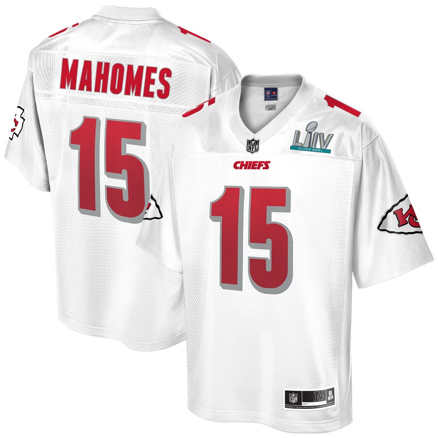 Youth Kansas City Chiefs #15 Patrick Mahomes NFL Pro Line White Super Bowl LIV Champions Jersey