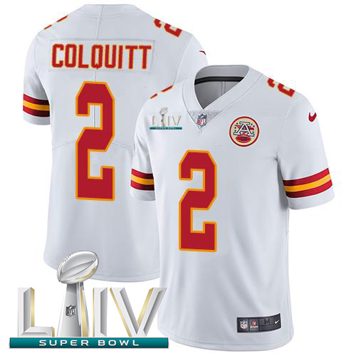 Nike Chiefs #2 Dustin Colquitt White Super Bowl LIV 2020 Youth Stitched NFL Vapor Untouchable Limited Jersey