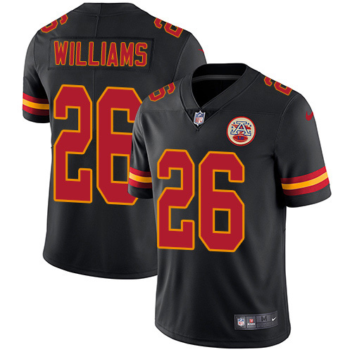 Nike Chiefs #26 Damien Williams Black Youth Stitched NFL Limited Rush Jersey