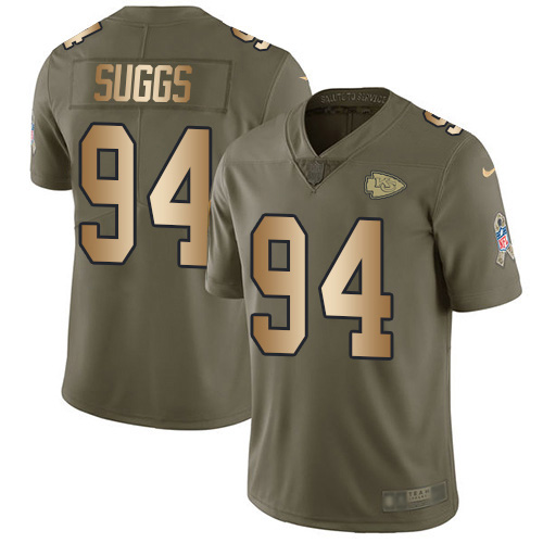Nike Chiefs #94 Terrell Suggs Olive/Gold Youth Stitched NFL Limited 2017 Salute To Service Jersey