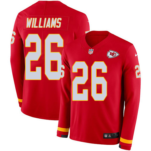 Nike Chiefs #26 Damien Williams Red Team Color Youth Stitched NFL Limited Therma Long Sleeve Jersey