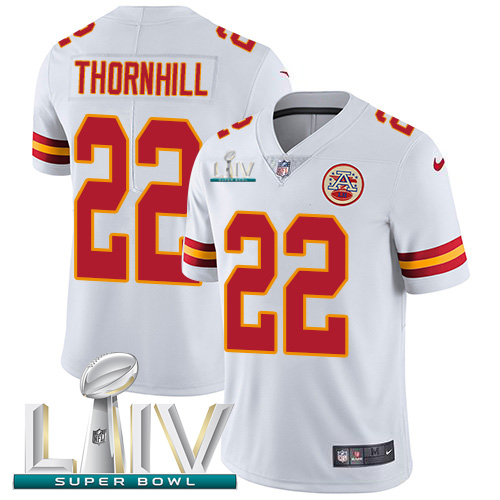 Nike Chiefs #22 Juan Thornhill White Super Bowl LIV 2020 Youth Stitched NFL Vapor Untouchable Limited Jersey
