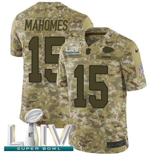 Nike Chiefs #15 Patrick Mahomes Camo Super Bowl LIV 2020 Youth Stitched NFL Limited 2018 Salute To Service Jersey