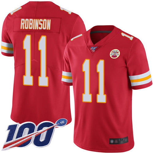 Nike Chiefs #11 Demarcus Robinson Red Team Color Youth Stitched NFL 100th Season Vapor Limited Jersey