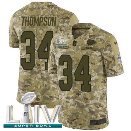 Nike Chiefs #34 Darwin Thompson Camo Super Bowl LIV 2020 Youth Stitched NFL Limited 2018 Salute To Service Jersey