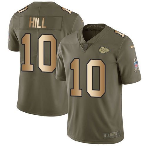 Nike Chiefs #10 Tyreek Hill Olive/Gold Youth Stitched NFL Limited 2017 Salute to Service Jersey