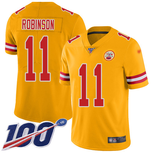Nike Chiefs #11 Demarcus Robinson Gold Youth Stitched NFL Limited Inverted Legend 100th Season Jersey