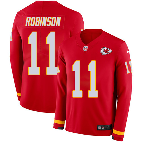 Nike Chiefs #11 Demarcus Robinson Red Team Color Youth Stitched NFL Limited Therma Long Sleeve Jersey