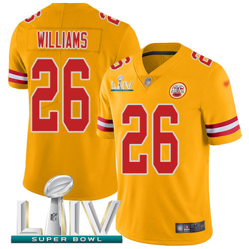 Nike Chiefs #26 Damien Williams Gold Super Bowl LIV 2020 Youth Stitched NFL Limited Inverted Legend Jersey