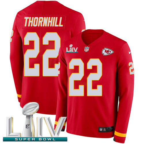Nike Chiefs #22 Juan Thornhill Red Super Bowl LIV 2020 Team Color Youth Stitched NFL Limited Therma Long Sleeve Jersey