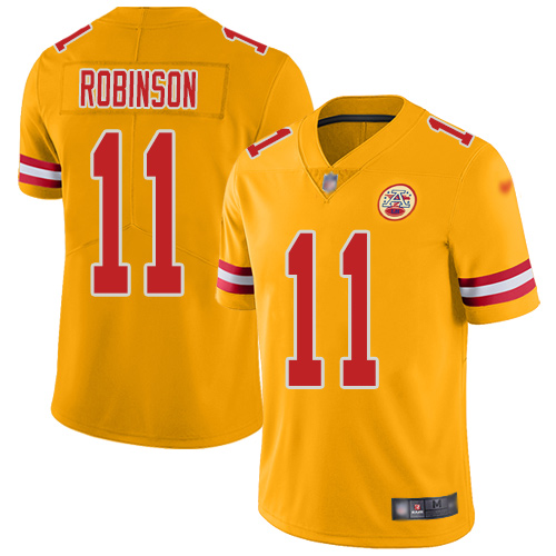 Nike Chiefs #11 Demarcus Robinson Gold Youth Stitched NFL Limited Inverted Legend Jersey