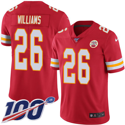 Nike Chiefs #26 Damien Williams Red Team Color Youth Stitched NFL 100th Season Vapor Untouchable Limited Jersey