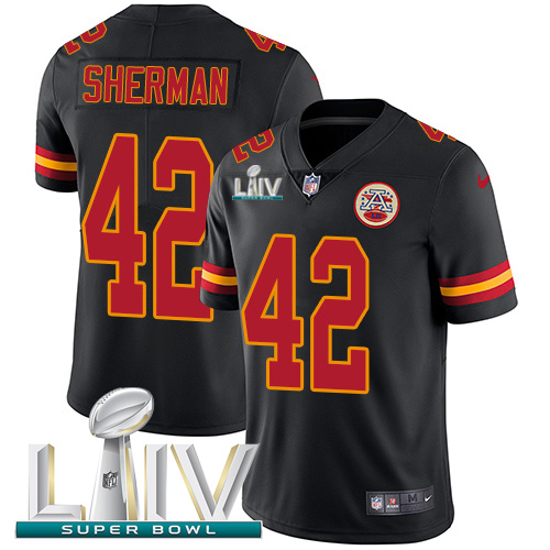 Nike Chiefs #42 Anthony Sherman Black Super Bowl LIV 2020 Youth Stitched NFL Limited Rush Jersey