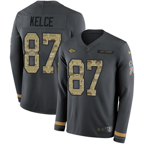 Nike Chiefs #87 Travis Kelce Anthracite Salute to Service Youth Stitched NFL Limited Therma Long Sleeve Jersey