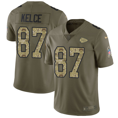 Nike Chiefs #87 Travis Kelce Olive/Camo Youth Stitched NFL Limited 2017 Salute to Service Jersey
