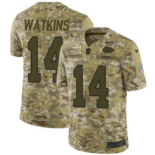 Nike Chiefs #14 Sammy Watkins Camo Youth Stitched NFL Limited 2018 Salute to Service Jersey