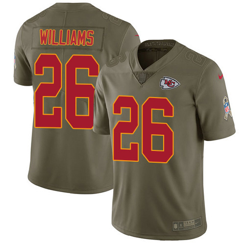 Nike Chiefs #26 Damien Williams Olive Youth Stitched NFL Limited 2017 Salute To Service Jersey