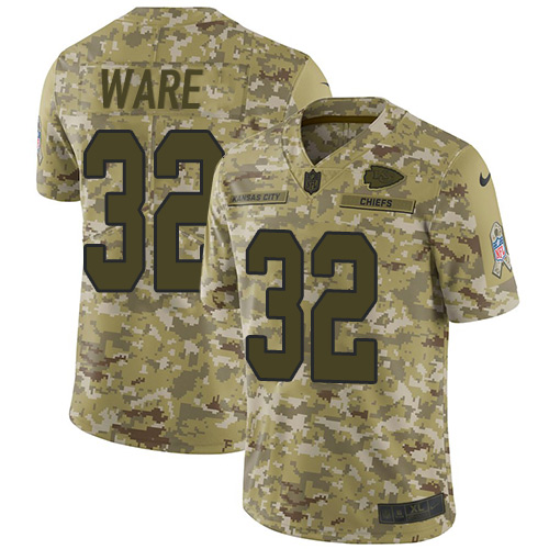 Nike Chiefs #32 Spencer Ware Camo Youth Stitched NFL Limited 2018 Salute to Service Jersey