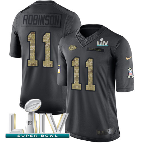 Nike Chiefs #11 Demarcus Robinson Black Super Bowl LIV 2020 Youth Stitched NFL Limited 2016 Salute to Service Jersey