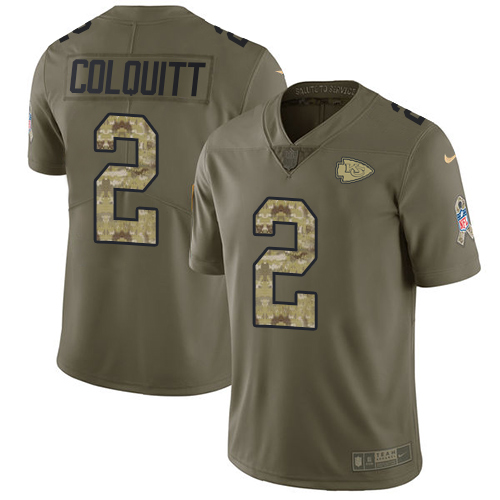 Nike Chiefs #2 Dustin Colquitt Olive/Camo Youth Stitched NFL Limited 2017 Salute to Service Jersey