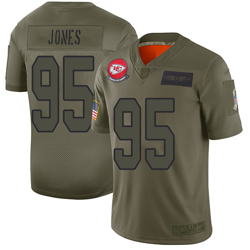 Nike Chiefs #95 Chris Jones Camo Youth Stitched NFL Limited 2019 Salute to Service Jersey