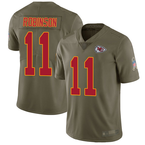 Nike Chiefs #11 Demarcus Robinson Olive Youth Stitched NFL Limited 2017 Salute to Service Jersey