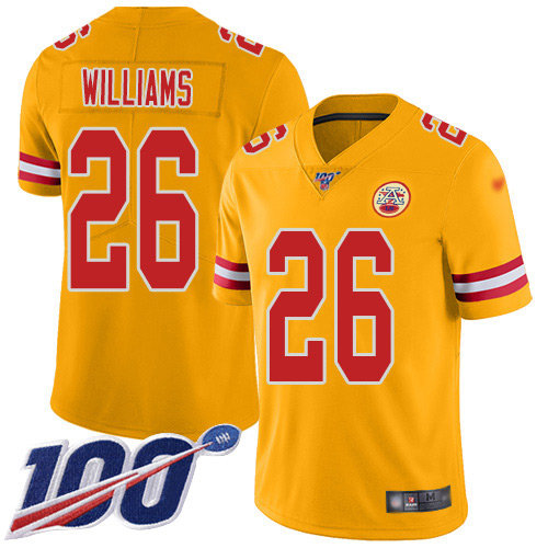 Nike Chiefs #26 Damien Williams Gold Youth Stitched NFL Limited Inverted Legend 100th Season Jersey