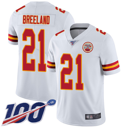 Nike Chiefs #21 Bashaud Breeland White Youth Stitched NFL 100th Season Vapor Limited Jersey