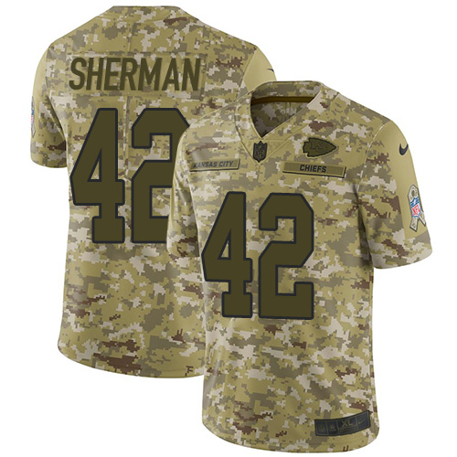 Nike Chiefs #42 Anthony Sherman Camo Youth Stitched NFL Limited 2018 Salute to Service Jersey