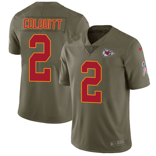 Nike Chiefs #2 Dustin Colquitt Olive Youth Stitched NFL Limited 2017 Salute to Service Jersey
