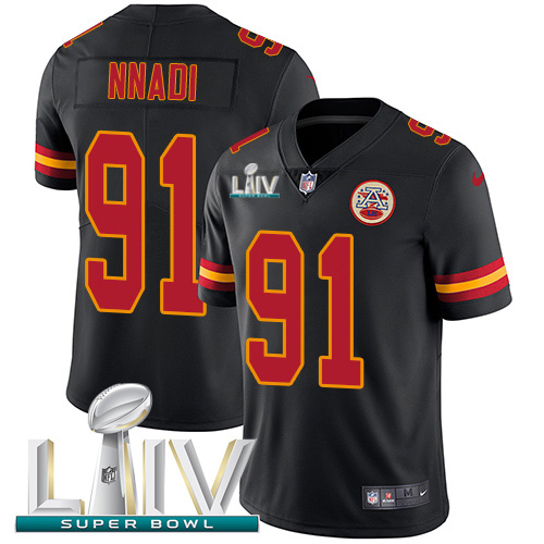 Nike Chiefs #91 Derrick Nnadi Black Super Bowl LIV 2020 Youth Stitched NFL Limited Rush Jersey