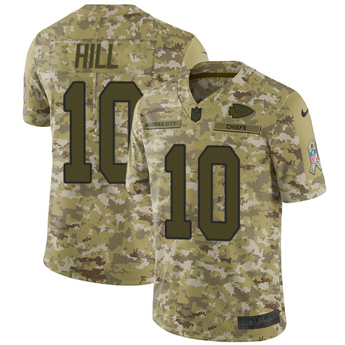 Nike Chiefs #10 Tyreek Hill Camo Youth Stitched NFL Limited 2018 Salute to Service Jersey