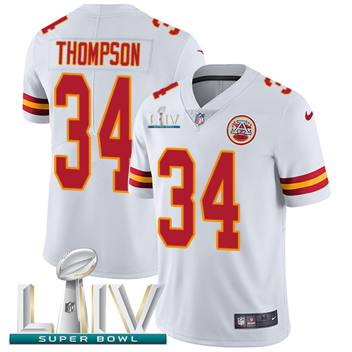 Nike Chiefs #34 Darwin Thompson White Super Bowl LIV 2020 Youth Stitched NFL Vapor Untouchable Limited Jersey