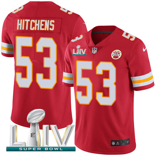 Nike Chiefs #53 Anthony Hitchens Red Super Bowl LIV 2020 Team Color Youth Stitched NFL Vapor Untouchable Limited Jersey