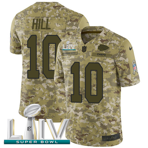 Nike Chiefs #10 Tyreek Hill Camo Super Bowl LIV 2020 Youth Stitched NFL Limited 2018 Salute To Service Jersey