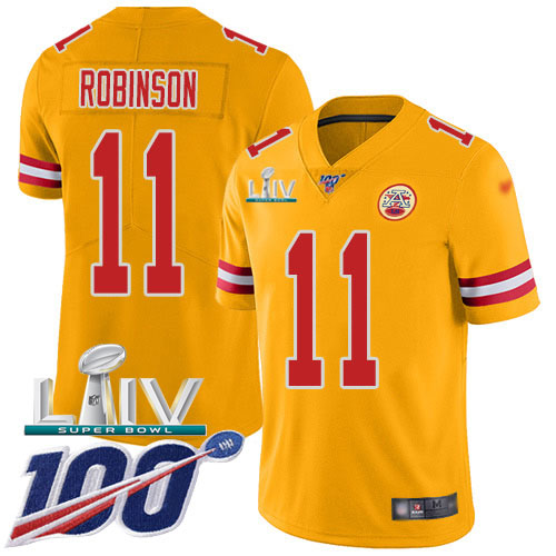Nike Chiefs #11 Demarcus Robinson Gold Super Bowl LIV 2020 Youth Stitched NFL Limited Inverted Legend 100th Season Jersey